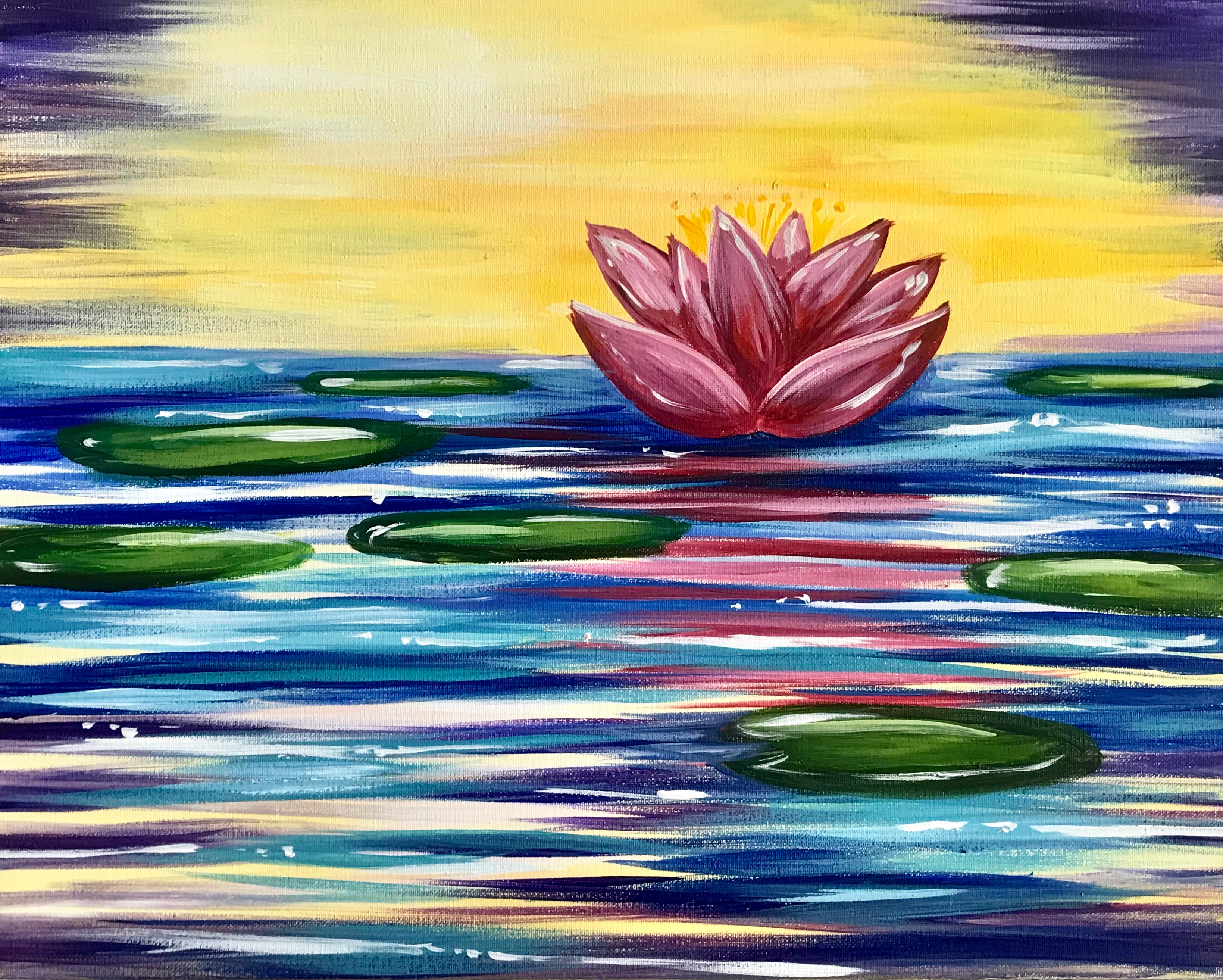 Lily Pond - The Painters Lounge - Best paint and wine, paint and sip in